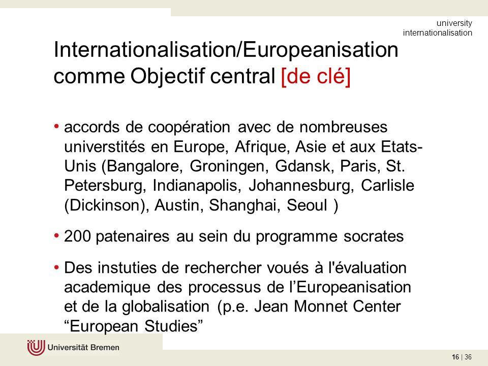 16 | 36 Internationalisation/Europeanisation comme Objectif central [de clé] accords de coopération avec de nombreuses universtités en Europe, Afrique, Asie et aux Etats- Unis (Bangalore, Groningen, Gdansk, Paris, St.