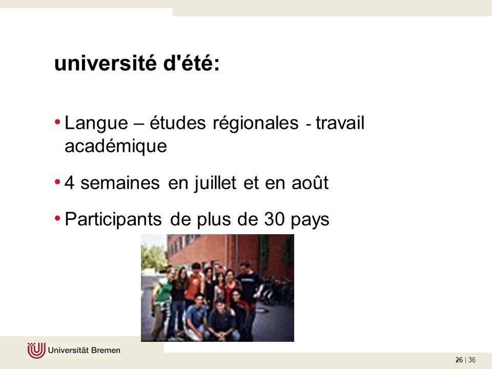 26 | 36 université d été: Langue – études régionales - travail académique 4 semaines en juillet et en août Participants de plus de 30 pays