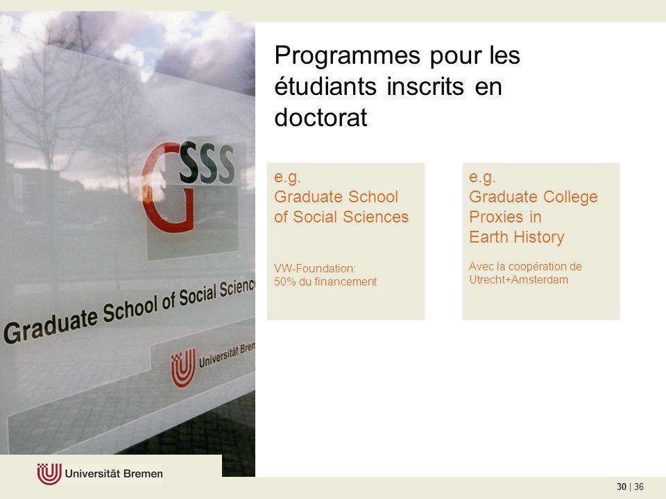 30 | 36 Programmes pour les étudiants inscrits en doctorat e.g.