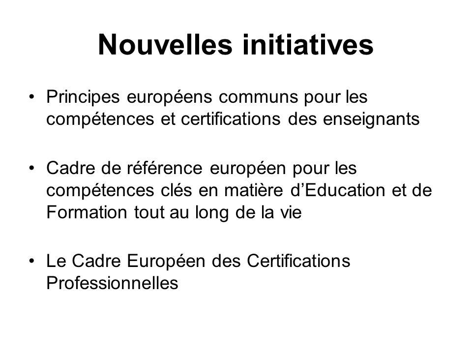 Nouvelles initiatives Principes européens communs pour les compétences et certifications des enseignants Cadre de référence européen pour les compétences clés en matière dEducation et de Formation tout au long de la vie Le Cadre Européen des Certifications Professionnelles