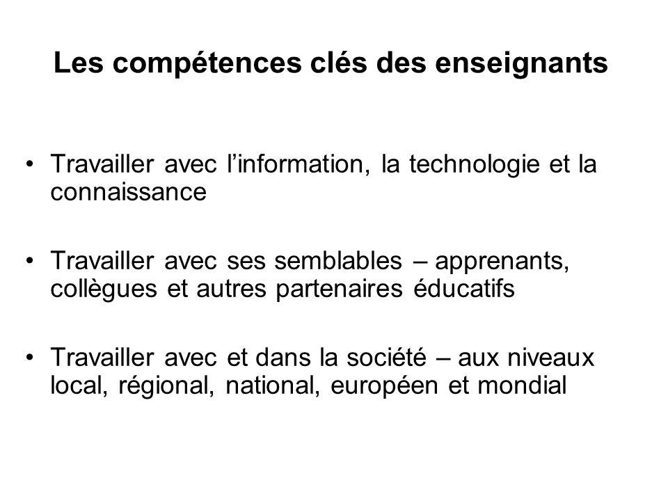 Les compétences clés des enseignants Travailler avec linformation, la technologie et la connaissance Travailler avec ses semblables – apprenants, collègues et autres partenaires éducatifs Travailler avec et dans la société – aux niveaux local, régional, national, européen et mondial