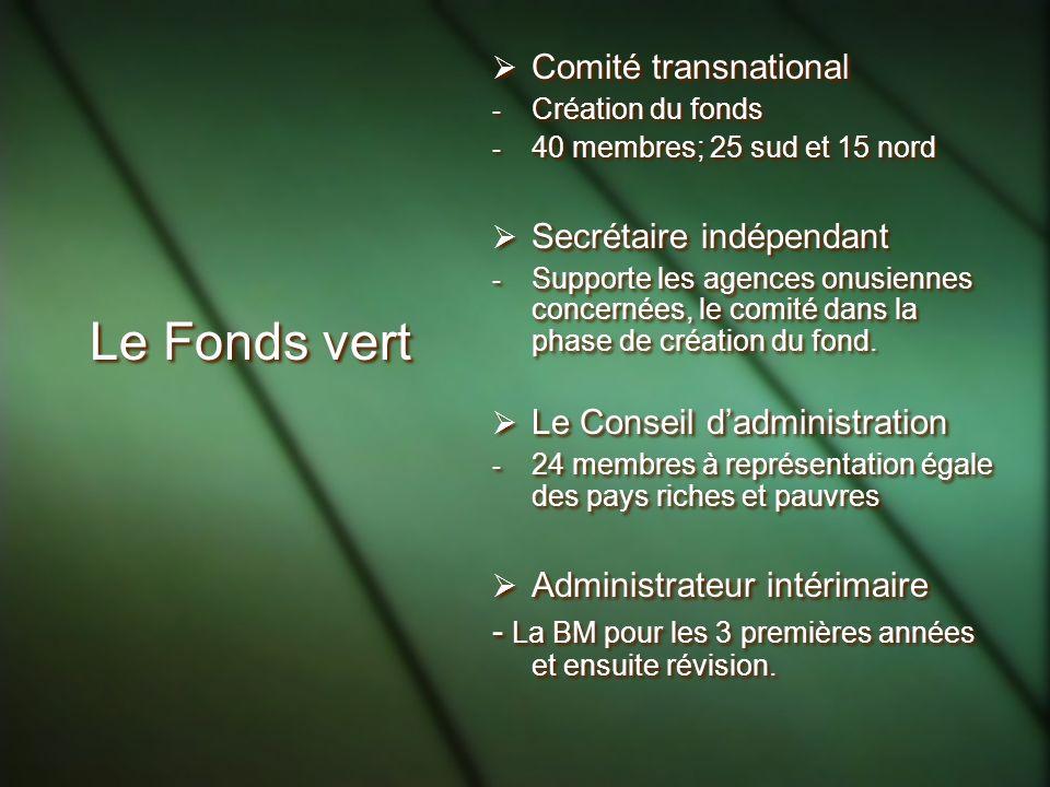 Le Fonds vert Comité transnational - Création du fonds - 40 membres; 25 sud et 15 nord Secrétaire indépendant - Supporte les agences onusiennes concernées, le comité dans la phase de création du fond.
