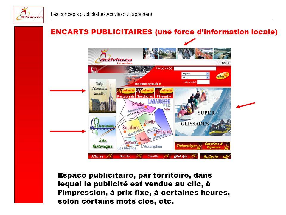 Les concepts publicitaires Activito qui rapportent ENCARTS PUBLICITAIRES (une force dinformation locale) Espace publicitaire, par territoire, dans lequel la publicité est vendue au clic, à limpression, à prix fixe, à certaines heures, selon certains mots clés, etc.