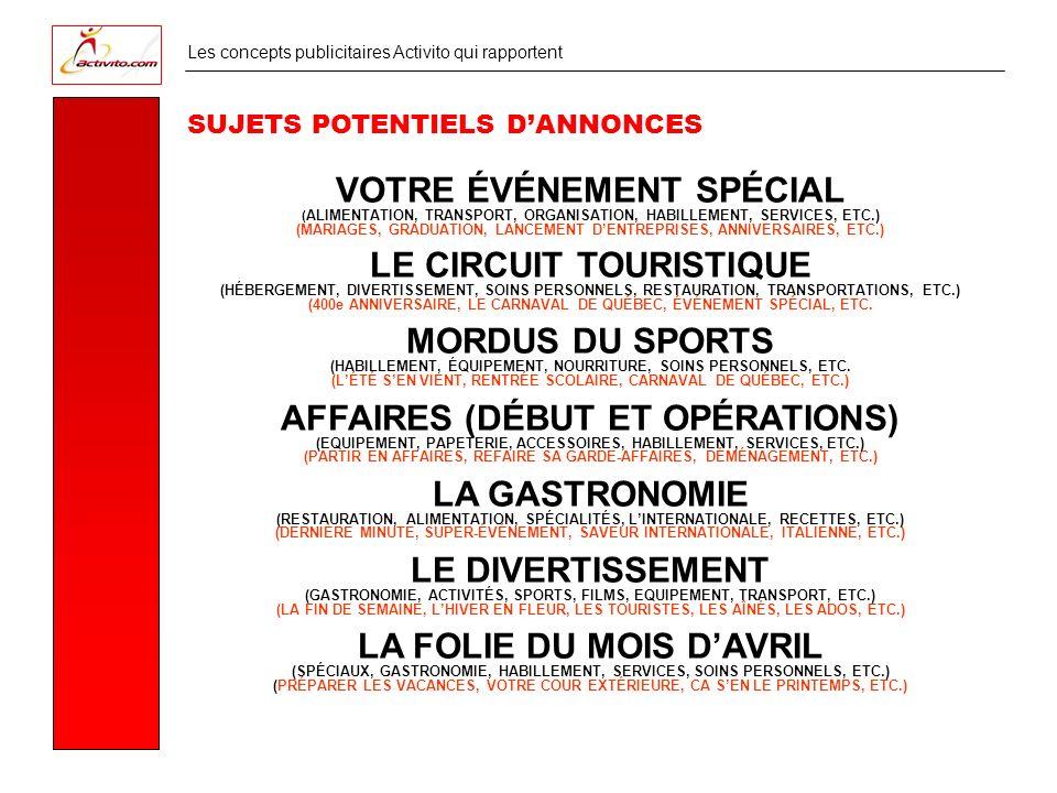 Les concepts publicitaires Activito qui rapportent SUJETS POTENTIELS DANNONCES VOTRE ÉVÉNEMENT SPÉCIAL ( ALIMENTATION, TRANSPORT, ORGANISATION, HABILLEMENT, SERVICES, ETC.) (MARIAGES, GRADUATION, LANCEMENT DENTREPRISES, ANNIVERSAIRES, ETC.) LE CIRCUIT TOURISTIQUE (HÉBERGEMENT, DIVERTISSEMENT, SOINS PERSONNELS, RESTAURATION, TRANSPORTATIONS, ETC.) (400e ANNIVERSAIRE, LE CARNAVAL DE QUÉBEC, ÉVÉNEMENT SPÉCIAL, ETC.