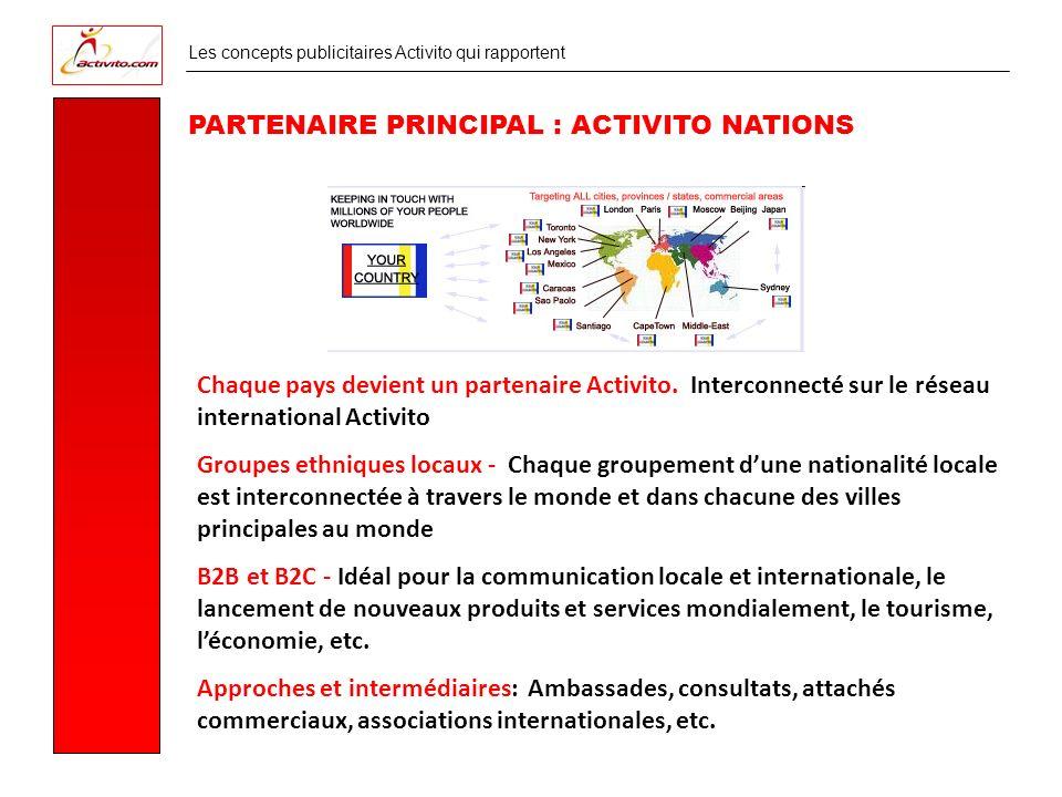 Les concepts publicitaires Activito qui rapportent PARTENAIRE PRINCIPAL : ACTIVITO NATIONS Chaque pays devient un partenaire Activito.