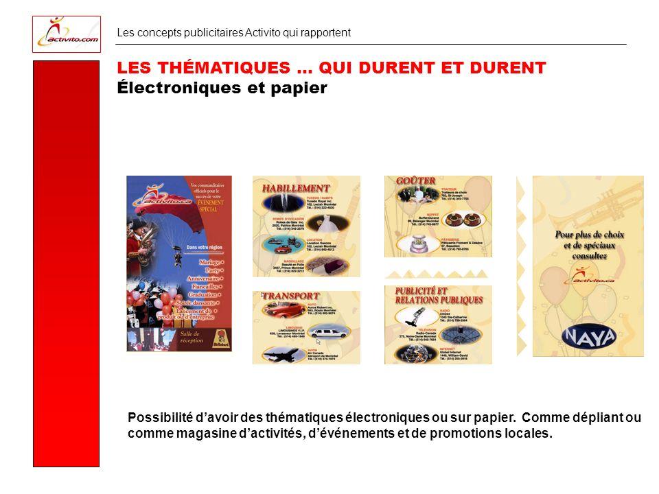 Les concepts publicitaires Activito qui rapportent LES THÉMATIQUES … QUI DURENT ET DURENT Électroniques et papier Possibilité davoir des thématiques électroniques ou sur papier.