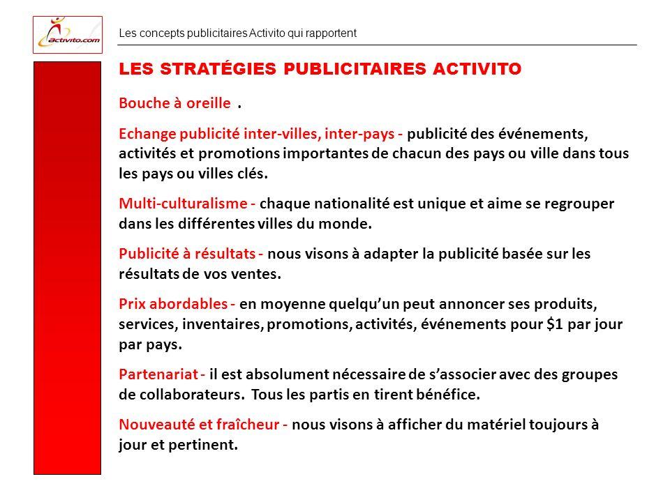 Les concepts publicitaires Activito qui rapportent LES STRATÉGIES PUBLICITAIRES ACTIVITO Bouche à oreille.