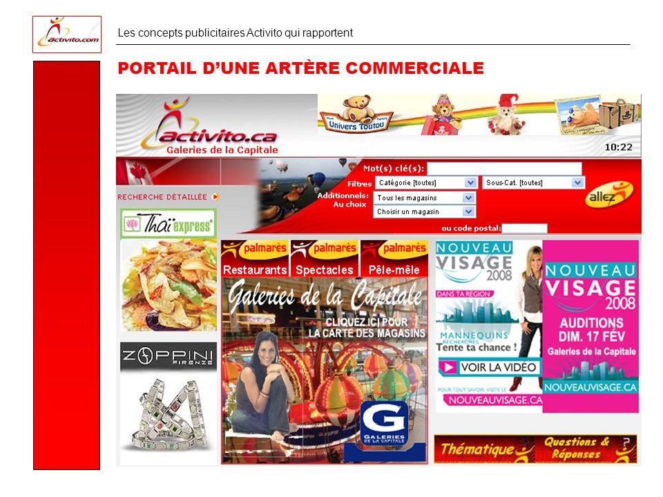 Les concepts publicitaires Activito qui rapportent PORTAIL DUNE ARTÈRE COMMERCIALE