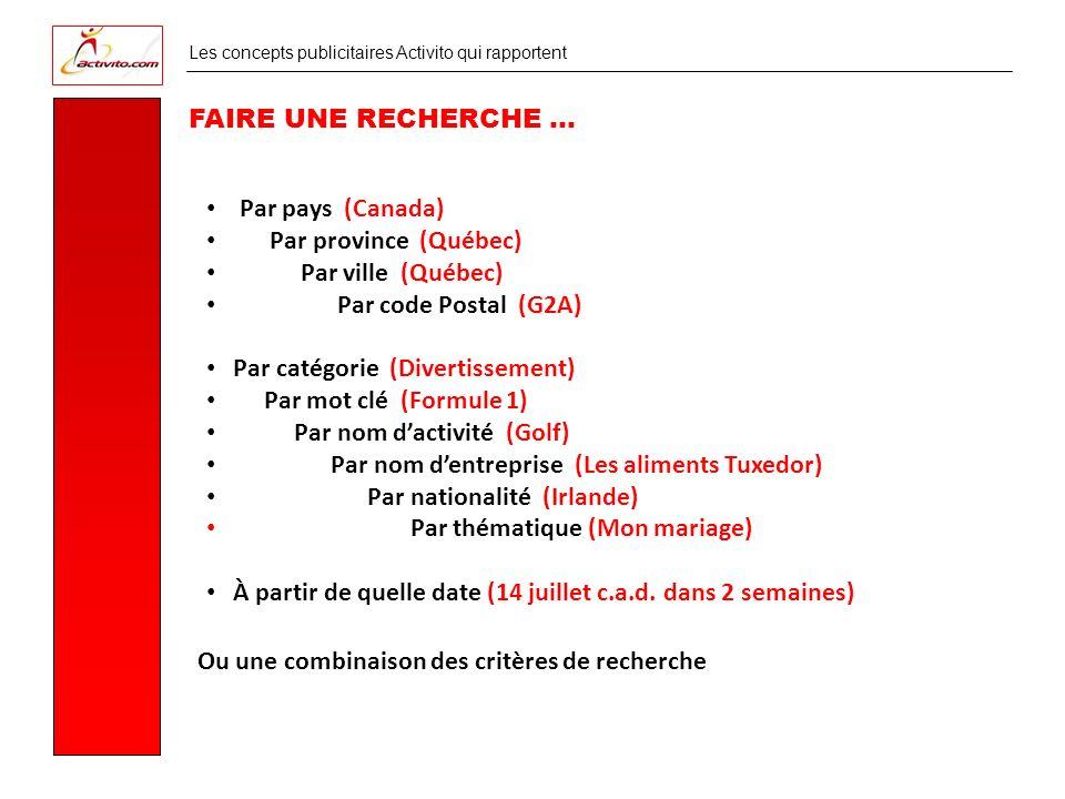 Les concepts publicitaires Activito qui rapportent COÛT DUNE COMMANDITE (VARIABLE SELON LES RÉGIONS)