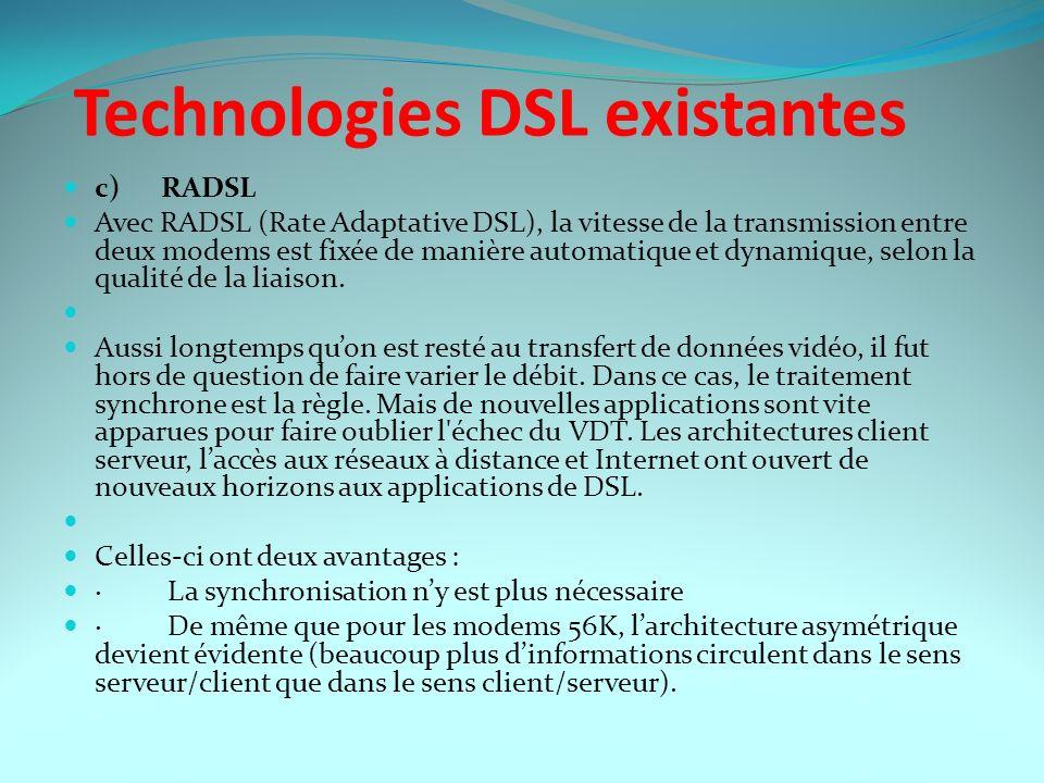 Technologies DSL existantes c) RADSL Avec RADSL (Rate Adaptative DSL), la vitesse de la transmission entre deux modems est fixée de manière automatiqu