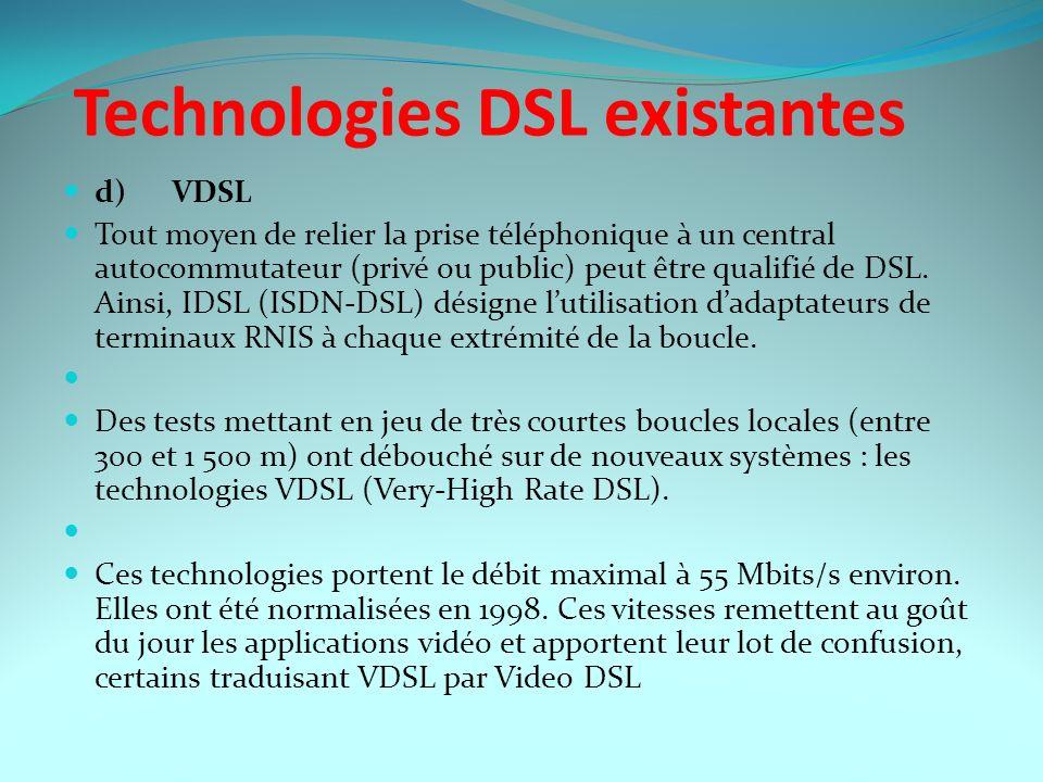 Technologies DSL existantes d) VDSL Tout moyen de relier la prise téléphonique à un central autocommutateur (privé ou public) peut être qualifié de DS