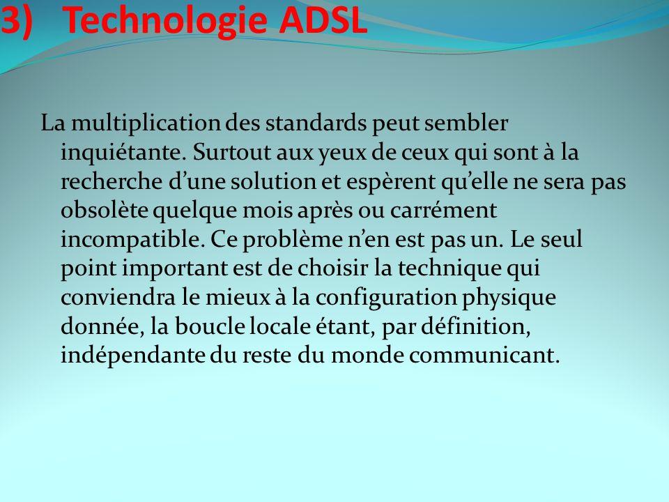 3) Technologie ADSL La multiplication des standards peut sembler inquiétante. Surtout aux yeux de ceux qui sont à la recherche dune solution et espère