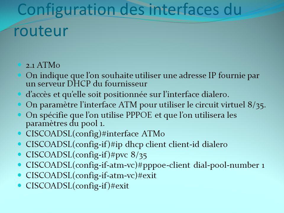 Configuration des interfaces du routeur 2.1 ATM0 On indique que lon souhaite utiliser une adresse IP fournie par un serveur DHCP du fournisseur daccès