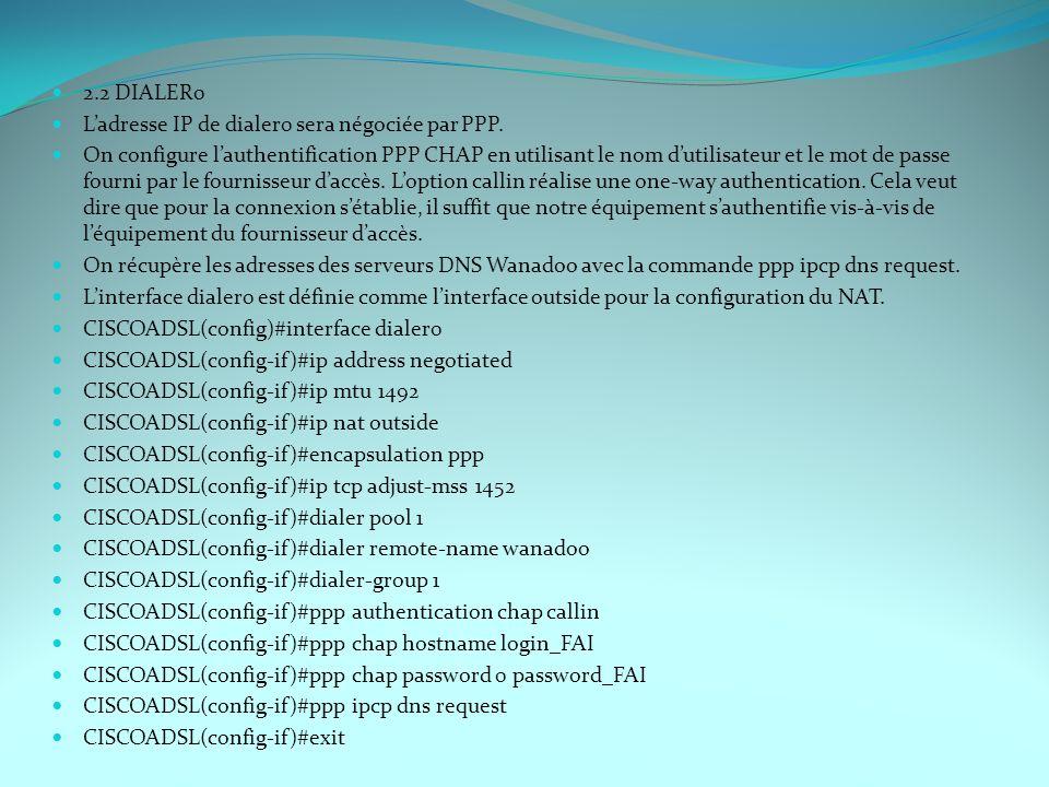 2.2 DIALER0 Ladresse IP de dialer0 sera négociée par PPP. On configure lauthentification PPP CHAP en utilisant le nom dutilisateur et le mot de passe