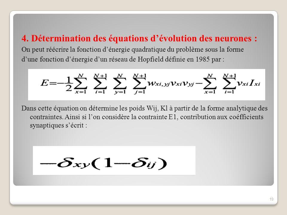 4. Détermination des équations dévolution des neurones : On peut réécrire la fonction dénergie quadratique du problème sous la forme dune fonction dén