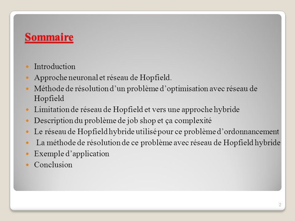 Sommaire Introduction Approche neuronal et réseau de Hopfield. Méthode de résolution dun problème doptimisation avec réseau de Hopfield Limitation de