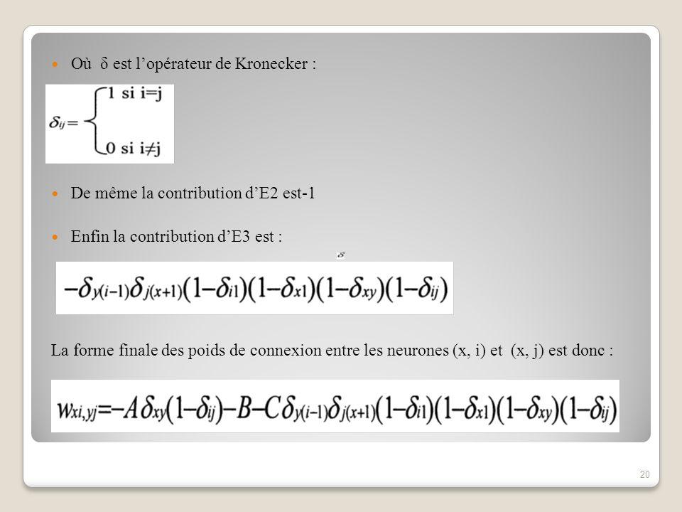 Où δ est lopérateur de Kronecker : De même la contribution dE2 est-1 Enfin la contribution dE3 est : La forme finale des poids de connexion entre les neurones (x, i) et (x, j) est donc : 20