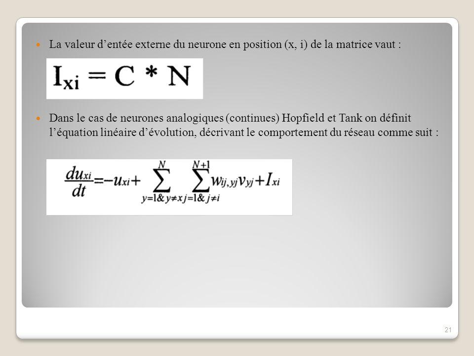 La valeur dentée externe du neurone en position (x, i) de la matrice vaut : Dans le cas de neurones analogiques (continues) Hopfield et Tank on définit léquation linéaire dévolution, décrivant le comportement du réseau comme suit : 21