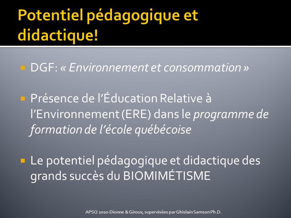 DGF: « Environnement et consommation » Présence de lÉducation Relative à lEnvironnement (ERE) dans le programme de formation de lécole québécoise Le p