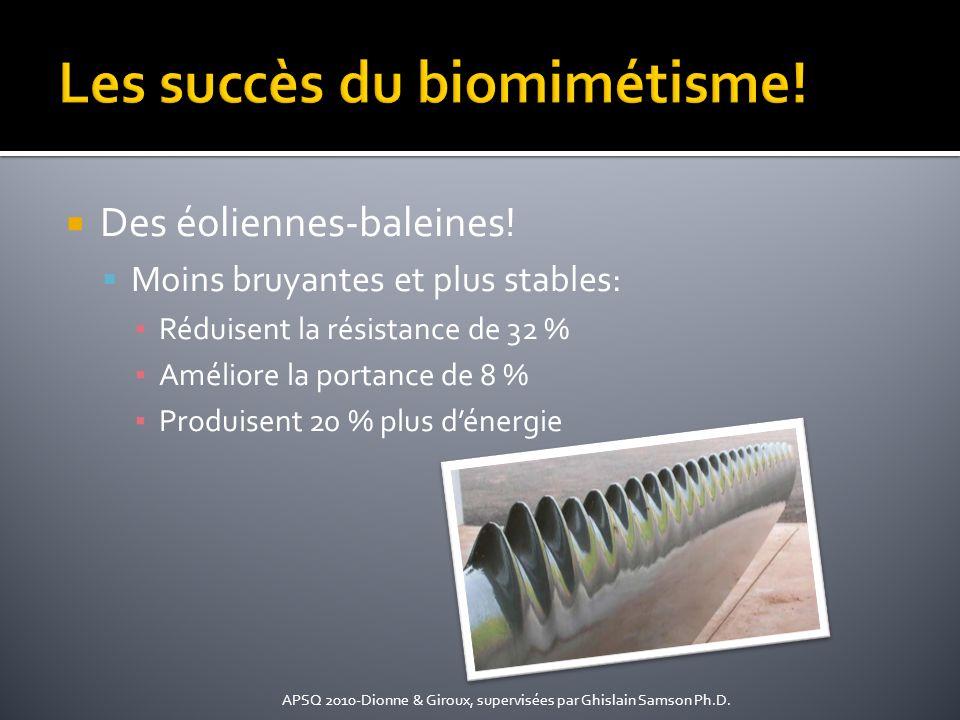 Des éoliennes-baleines! Moins bruyantes et plus stables: Réduisent la résistance de 32 % Améliore la portance de 8 % Produisent 20 % plus dénergie APS