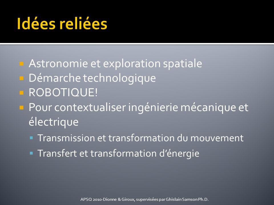 Astronomie et exploration spatiale Démarche technologique ROBOTIQUE! Pour contextualiser ingénierie mécanique et électrique Transmission et transforma