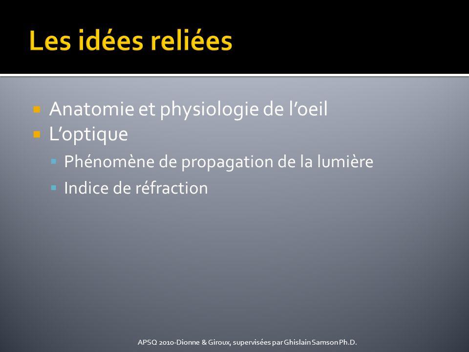 Anatomie et physiologie de loeil Loptique Phénomène de propagation de la lumière Indice de réfraction APSQ 2010-Dionne & Giroux, supervisées par Ghisl