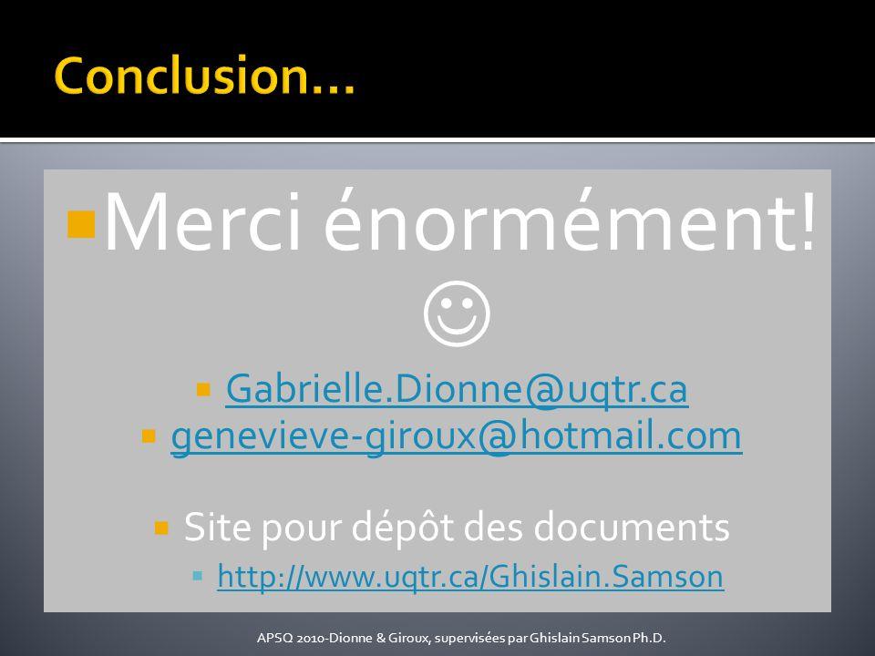 Merci énormément! Gabrielle.Dionne@uqtr.ca genevieve-giroux@hotmail.com Site pour dépôt des documents http://www.uqtr.ca/Ghislain.Samson APSQ 2010-Dio