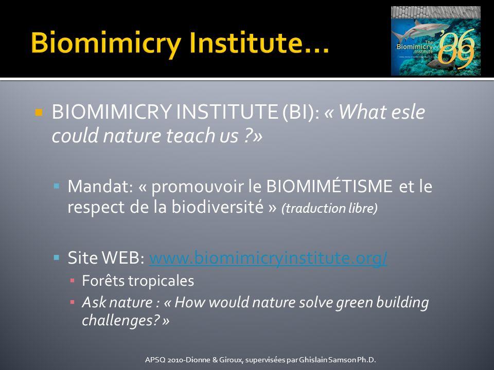 BIOMIMICRY INSTITUTE (BI): « What esle could nature teach us ?» Mandat: « promouvoir le BIOMIMÉTISME et le respect de la biodiversité » (traduction li