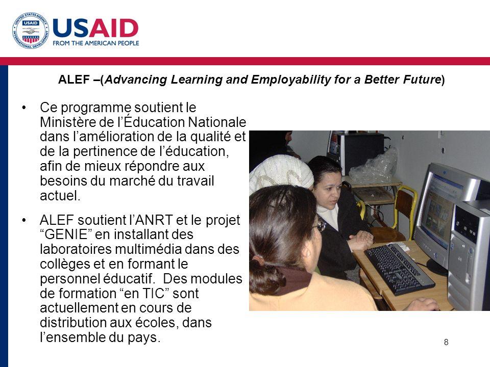9 Projet E-Parité Une alliance de Développement Global (GDA) CISCO, UNIFEM, Gouvernement du Maroc et USAID Promouvoir lopportunité demploi des jeunes, en particulier les femmes, dans le secteur des TIC par: - Renforcer les capacités et les compétences des bénéficiaires du projet dans le domainedes TIC par des formations CISCO (CNAPs) –M–Mettre en place un réseau de 12 Académies «CISCO » –M–Mettre en relation les lauréat(e)s du programme CISCO avec le monde du travail