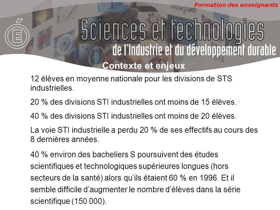 Formation des enseignants Contexte et enjeux 12 élèves en moyenne nationale pour les divisions de STS industrielles.
