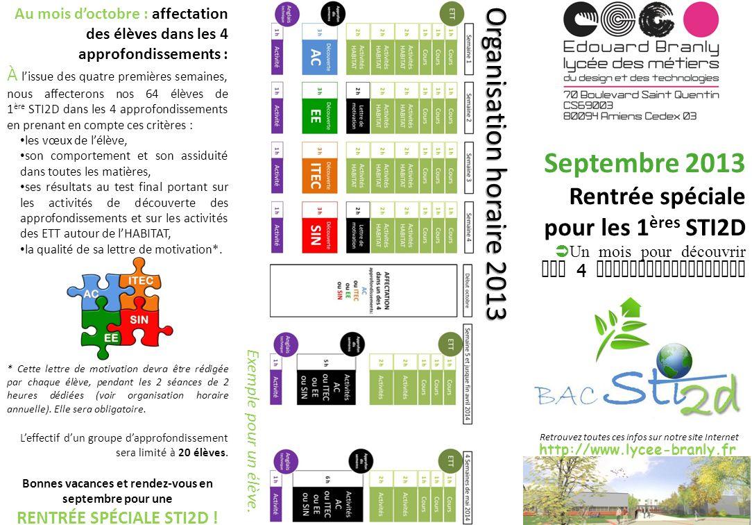 http://www.lycee-branly.fr Septembre 2013 Rentrée spéciale pour les 1 ères STI2D Un mois pour découvrir nos 4 approfondissements Organisation horaire