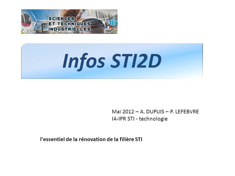 Infos STI2D Mai 2012 – A. DUPUIS – P. LEFEBVRE IA-IPR STI - technologie l'essentiel de la rénovation de la filière STI