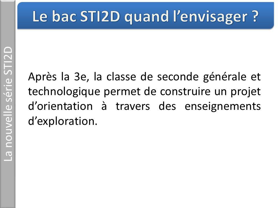 La nouvelle série STI2D Après la 3e, la classe de seconde générale et technologique permet de construire un projet dorientation à travers des enseigne