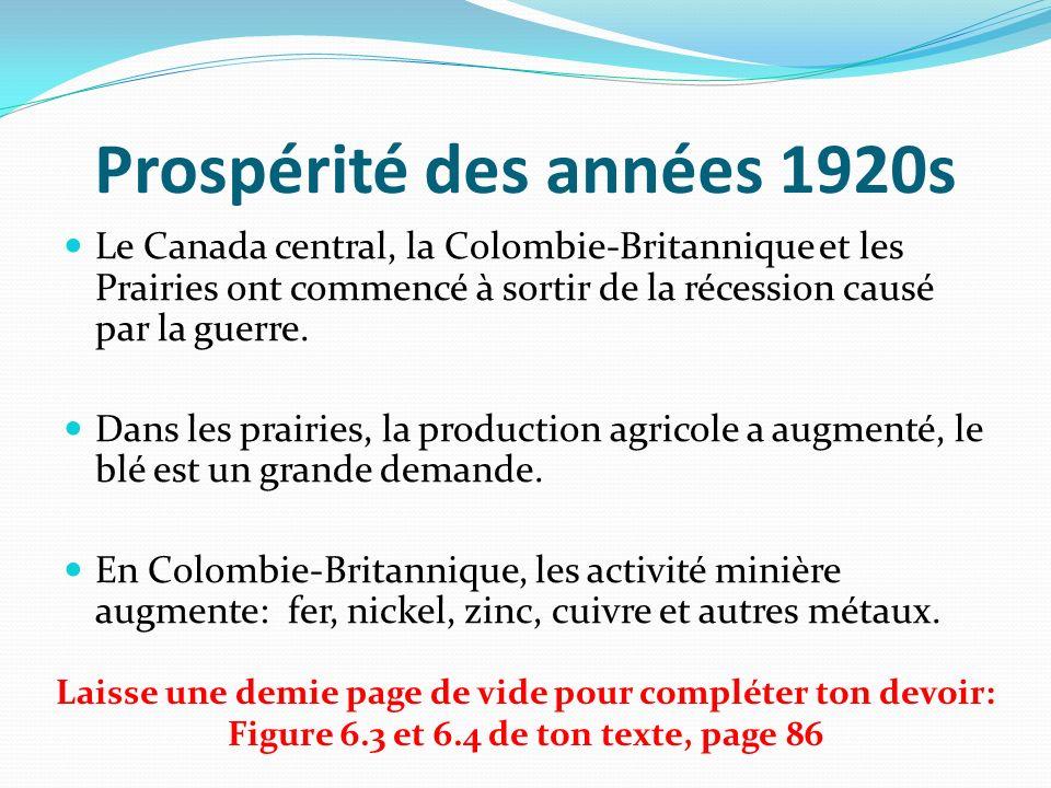 Prospérité des années 1920s Le Canada central, la Colombie-Britannique et les Prairies ont commencé à sortir de la récession causé par la guerre. Dans