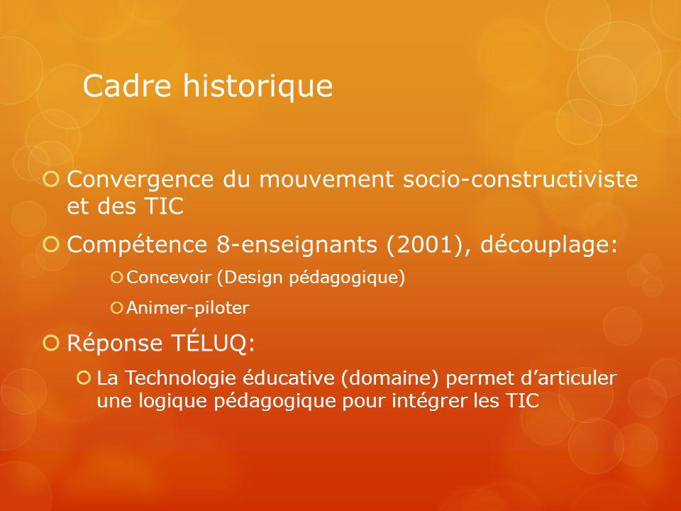 Cadre historique Convergence du mouvement socio-constructiviste et des TIC Compétence 8-enseignants (2001), découplage: Concevoir (Design pédagogique)