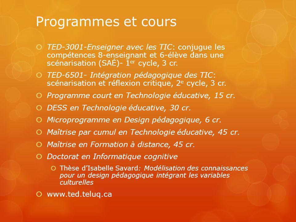 Programmes et cours TED-3001-Enseigner avec les TIC: conjugue les compétences 8-enseignant et 6-élève dans une scénarisation (SAÉ)- 1 er cycle, 3 cr.