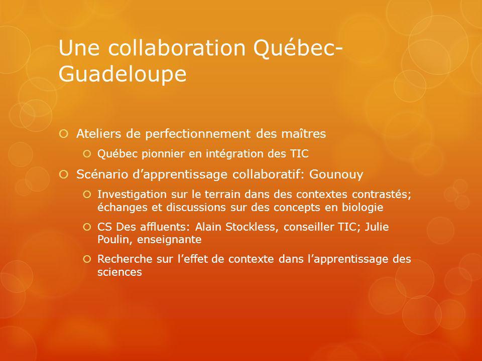 Une collaboration Québec- Guadeloupe Ateliers de perfectionnement des maîtres Québec pionnier en intégration des TIC Scénario dapprentissage collabora