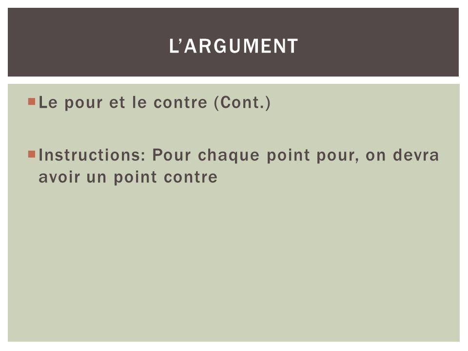 Le pour et le contre (Cont.) Instructions: Pour chaque point pour, on devra avoir un point contre LARGUMENT