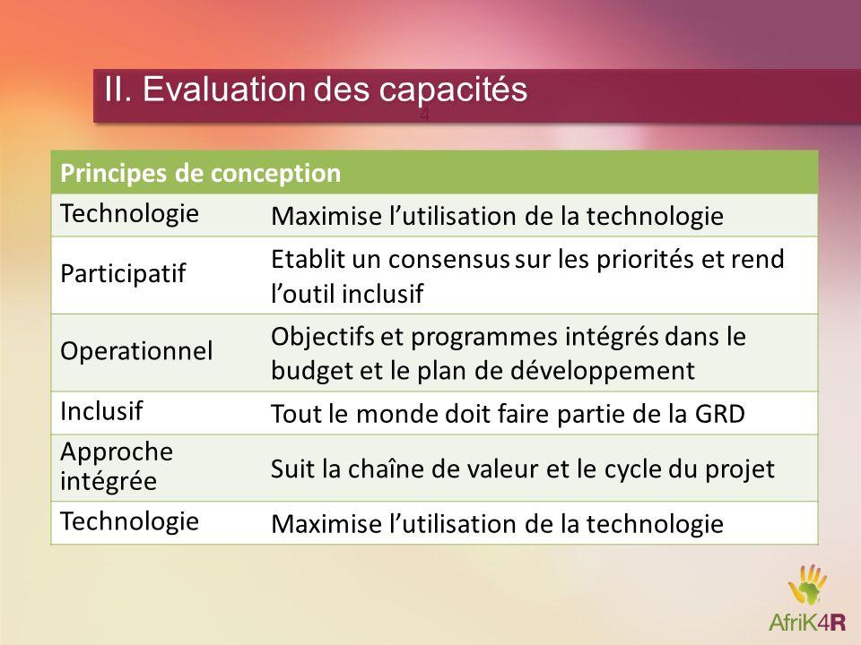 4 II. Evaluation des capacités Principes de conception Technologie Maximise lutilisation de la technologie Participatif Etablit un consensus sur les p