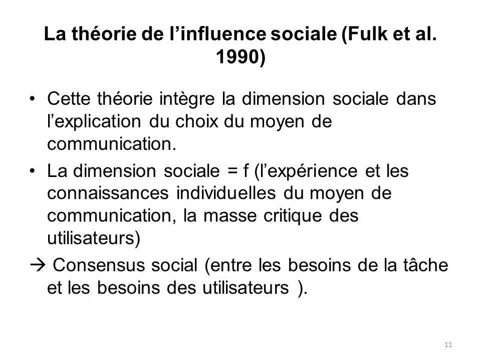 La théorie de linfluence sociale (Fulk et al. 1990) Cette théorie intègre la dimension sociale dans lexplication du choix du moyen de communication. L