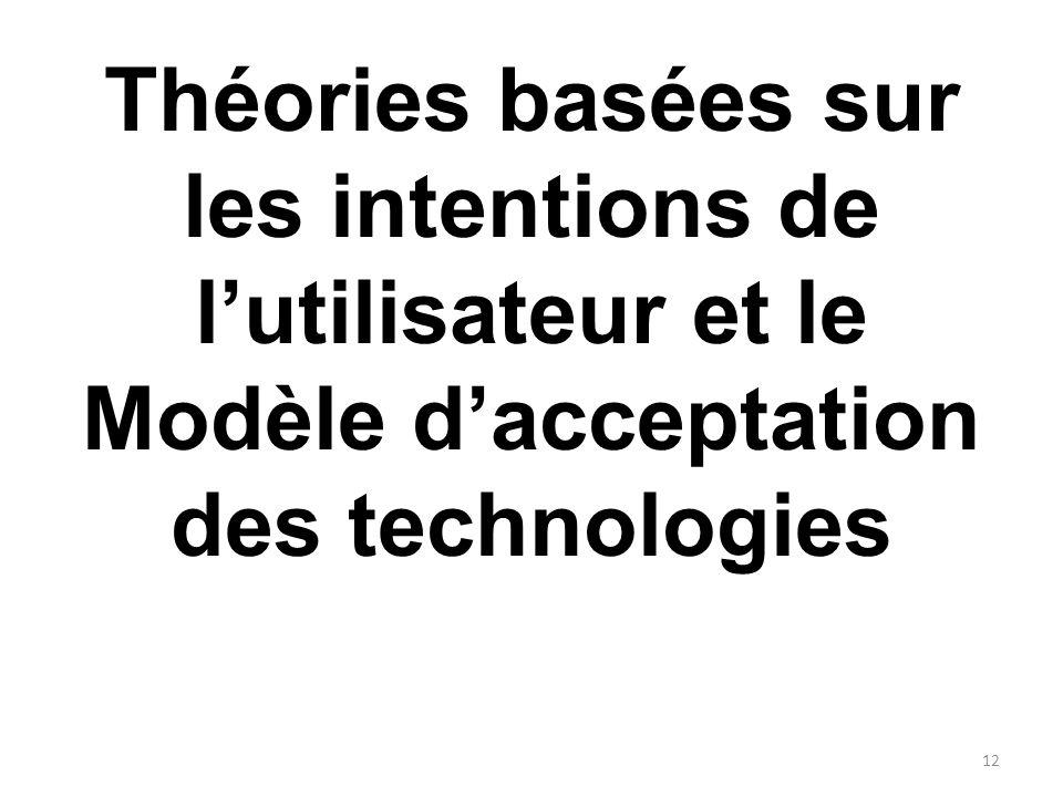 Théories basées sur les intentions de lutilisateur et le Modèle dacceptation des technologies 12