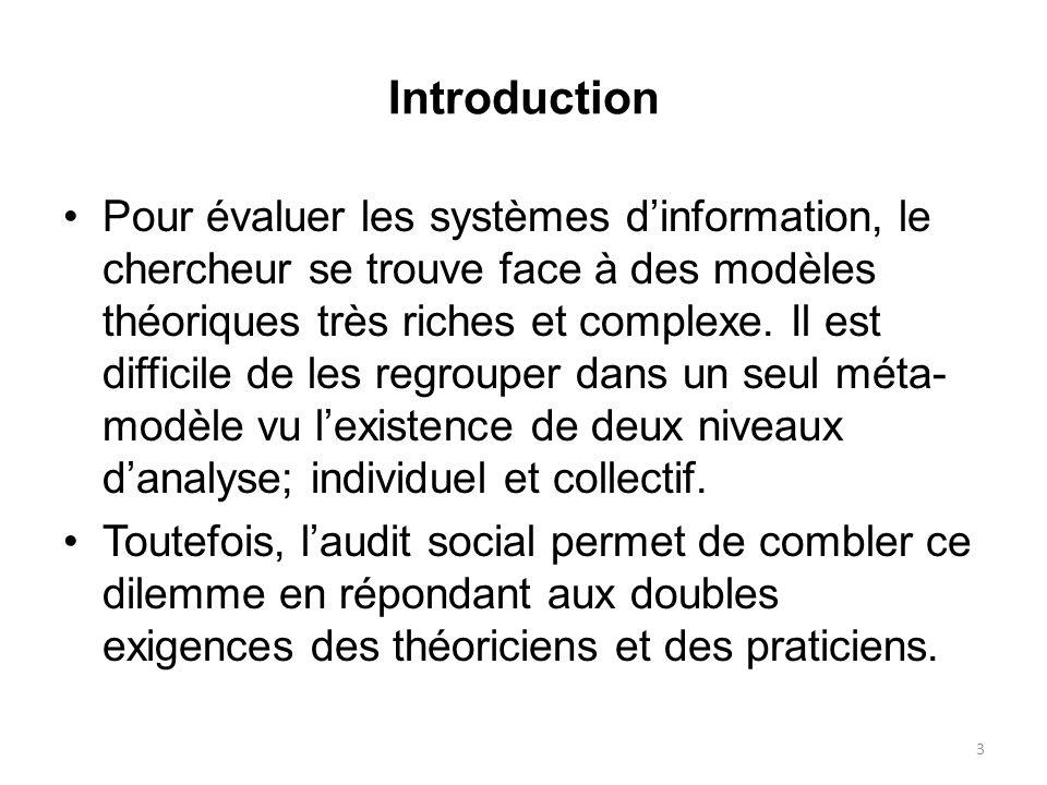 Introduction Pour évaluer les systèmes dinformation, le chercheur se trouve face à des modèles théoriques très riches et complexe. Il est difficile de