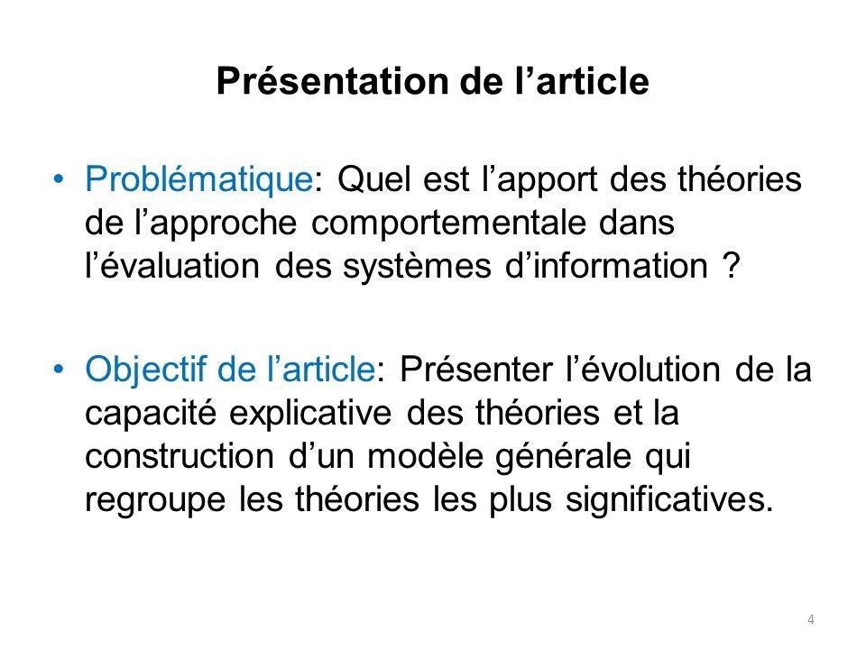 Présentation de larticle Problématique: Quel est lapport des théories de lapproche comportementale dans lévaluation des systèmes dinformation ? Object