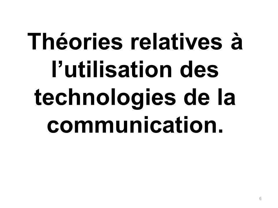 Le Modèle dAcceptation de la Technologie 17 Variables externes Utilité perçue Attitudes envers lutilisation Facilité dutilisation Intention du comportement Utilisation du système