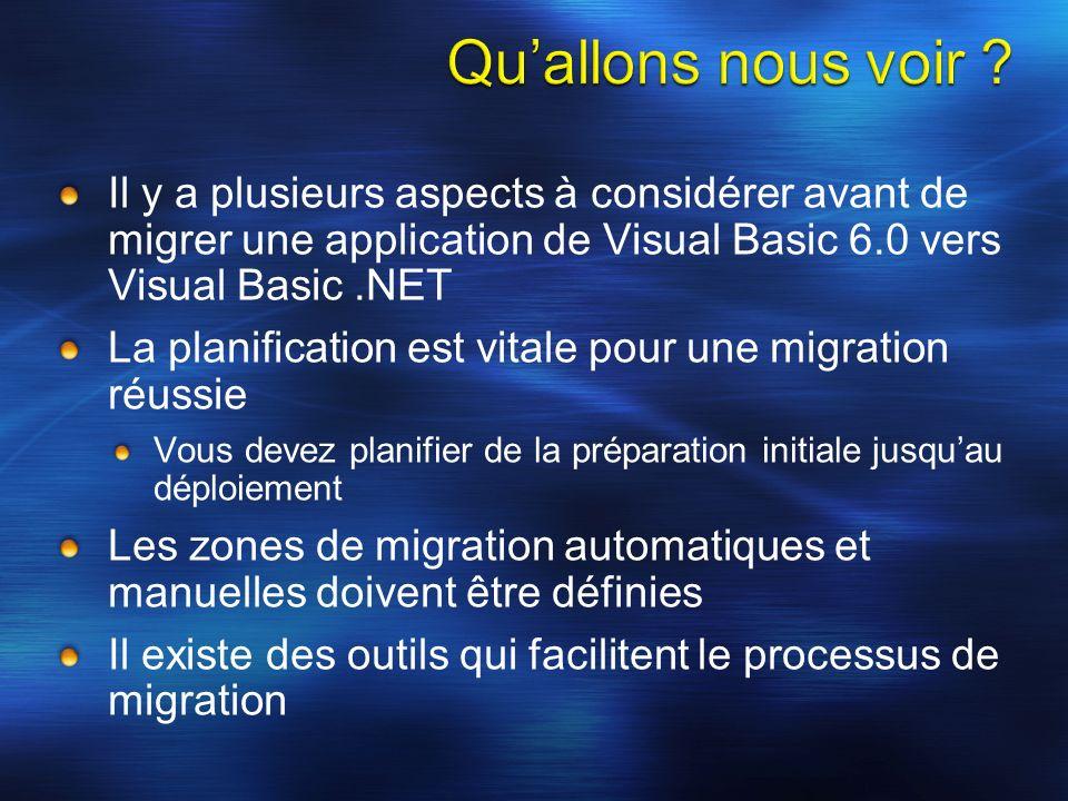 Il y a plusieurs aspects à considérer avant de migrer une application de Visual Basic 6.0 vers Visual Basic.NET La planification est vitale pour une migration réussie Vous devez planifier de la préparation initiale jusquau déploiement Les zones de migration automatiques et manuelles doivent être définies Il existe des outils qui facilitent le processus de migration