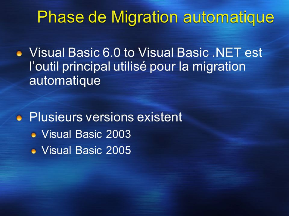 Visual Basic 6.0 to Visual Basic.NET est loutil principal utilisé pour la migration automatique Plusieurs versions existent Visual Basic 2003 Visual Basic 2005