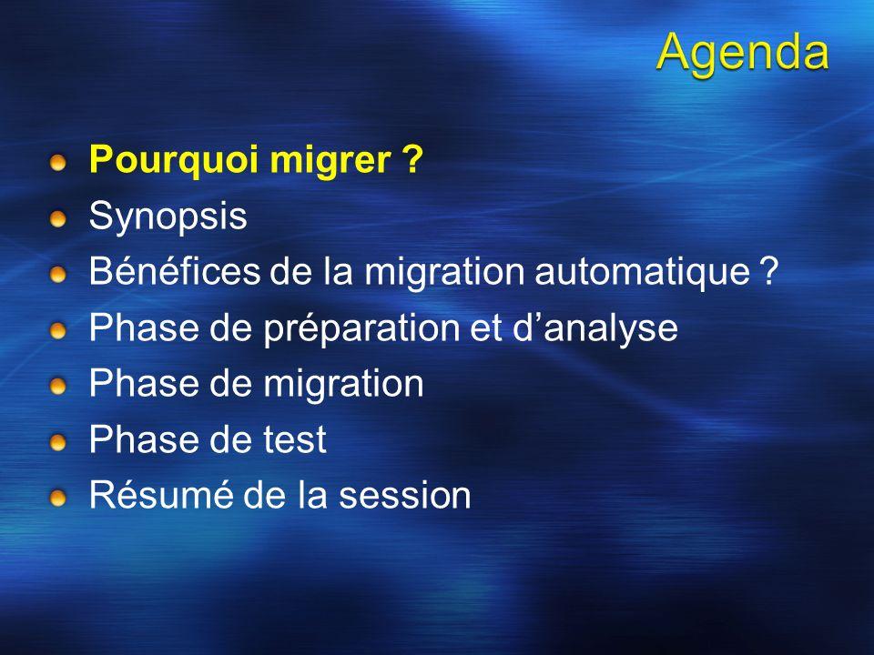 Pourquoi migrer . Synopsis Bénéfices de la migration automatique .