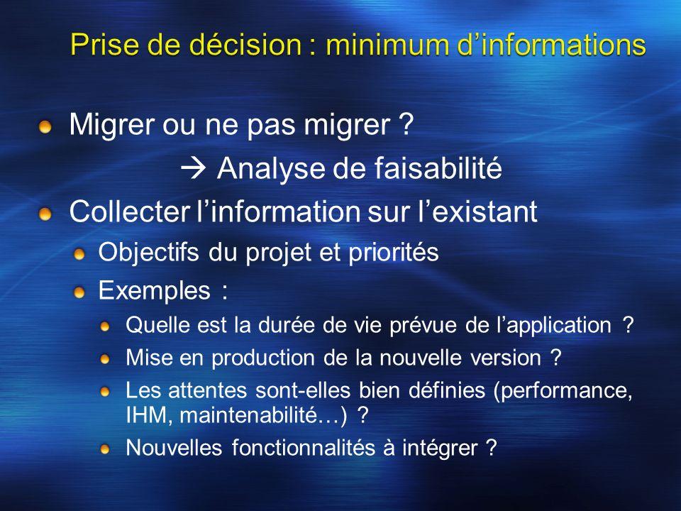 Migrer ou ne pas migrer ? Analyse de faisabilité Collecter linformation sur lexistant Objectifs du projet et priorités Exemples : Quelle est la durée