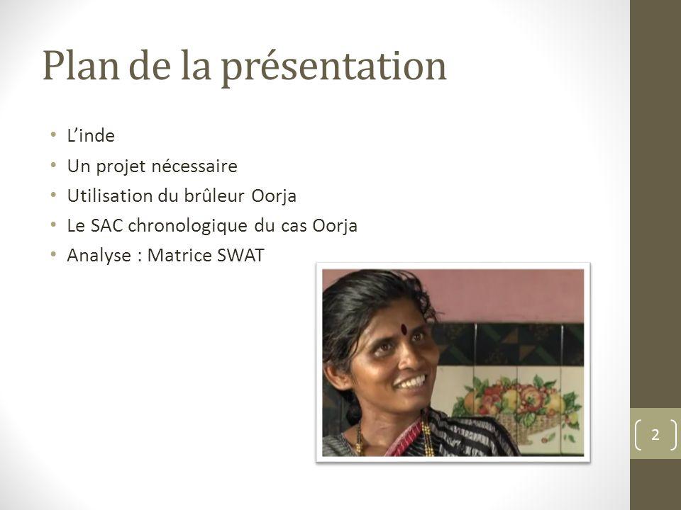 Plan de la présentation Linde Un projet nécessaire Utilisation du brûleur Oorja Le SAC chronologique du cas Oorja Analyse : Matrice SWAT 2