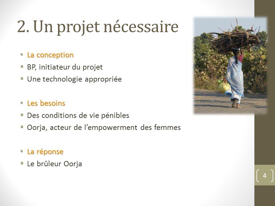 2. Un projet nécessaire La conception La conception BP, initiateur du projet Une technologie appropriée Les besoins Les besoins Des conditions de vie